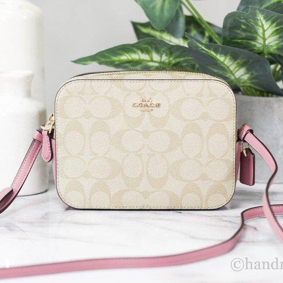 Coach Leather Khaki Rose Mini Camera Handbag